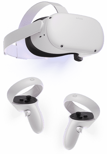 White Oculus Quest 2 with controllers.